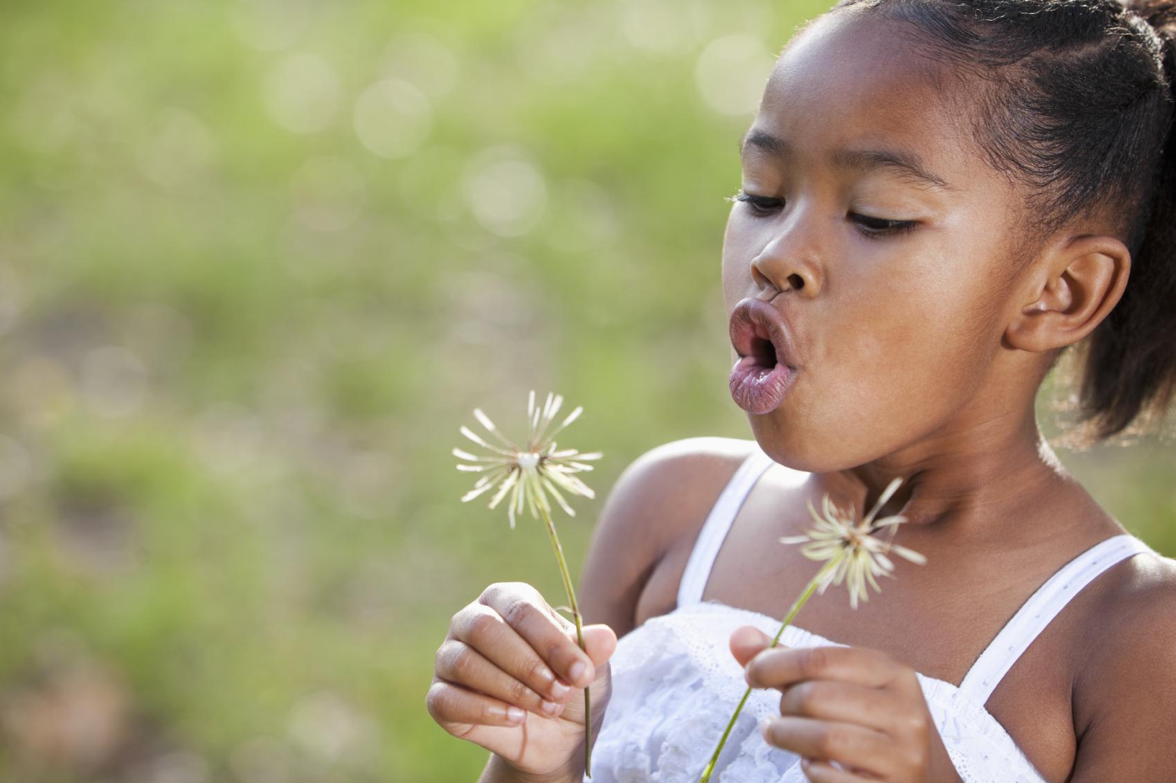 Little girl wearing sundress holding flowers