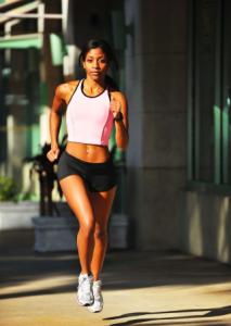 A-black-woman-running