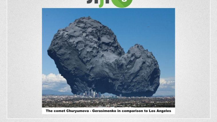 The comet in comparison to Los Angeles