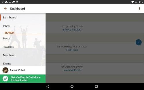 Aplikace Couchsurfing Travel App vám otevøe dveøe k levému cestování.;aplikace,program, software, tablet (13.11.2015)