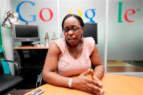 In this photo taken, Thursday, Sept.13, 2012, Affiong Osuchukwu, google's Nigeria marketing manager, speaks to the Associated Press, during an interview, in Lagos, Nigeria. With all its cutting-edge technology, Google Inc. has turned back to the text message in its efforts to break into Nigeria's booming economy. The search engine has started a service in Nigeria, as well as Ghana and Kenya, allowing mobile phone users to access emails through text messaging. That comes as the company's office in Lagos has begun working with small business owners in this nation of more than 160 million people. (AP Photo/Sunday Alamba)