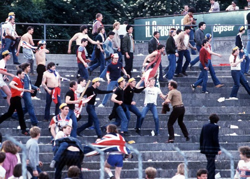 England fans rioting on the terraces Switzerland v England 1982 World Cup Qualifier; Basle; 30/05/1981 Credit: Colorsport/ Stewart Fraser