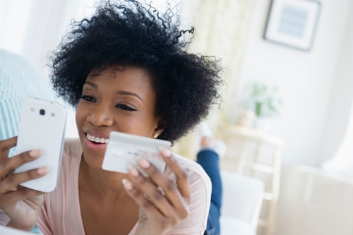 african-american-woman-shopping-on-cell-phone