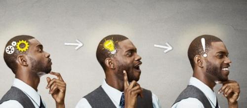 Emotional intelligence.Side Headshot thinking man found solution