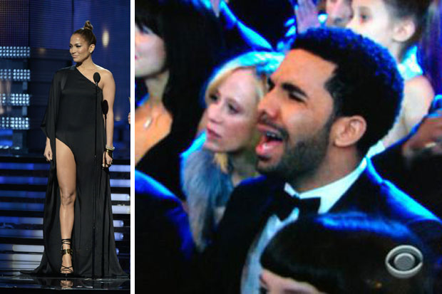The moment Drake saw JLo at the Grammys