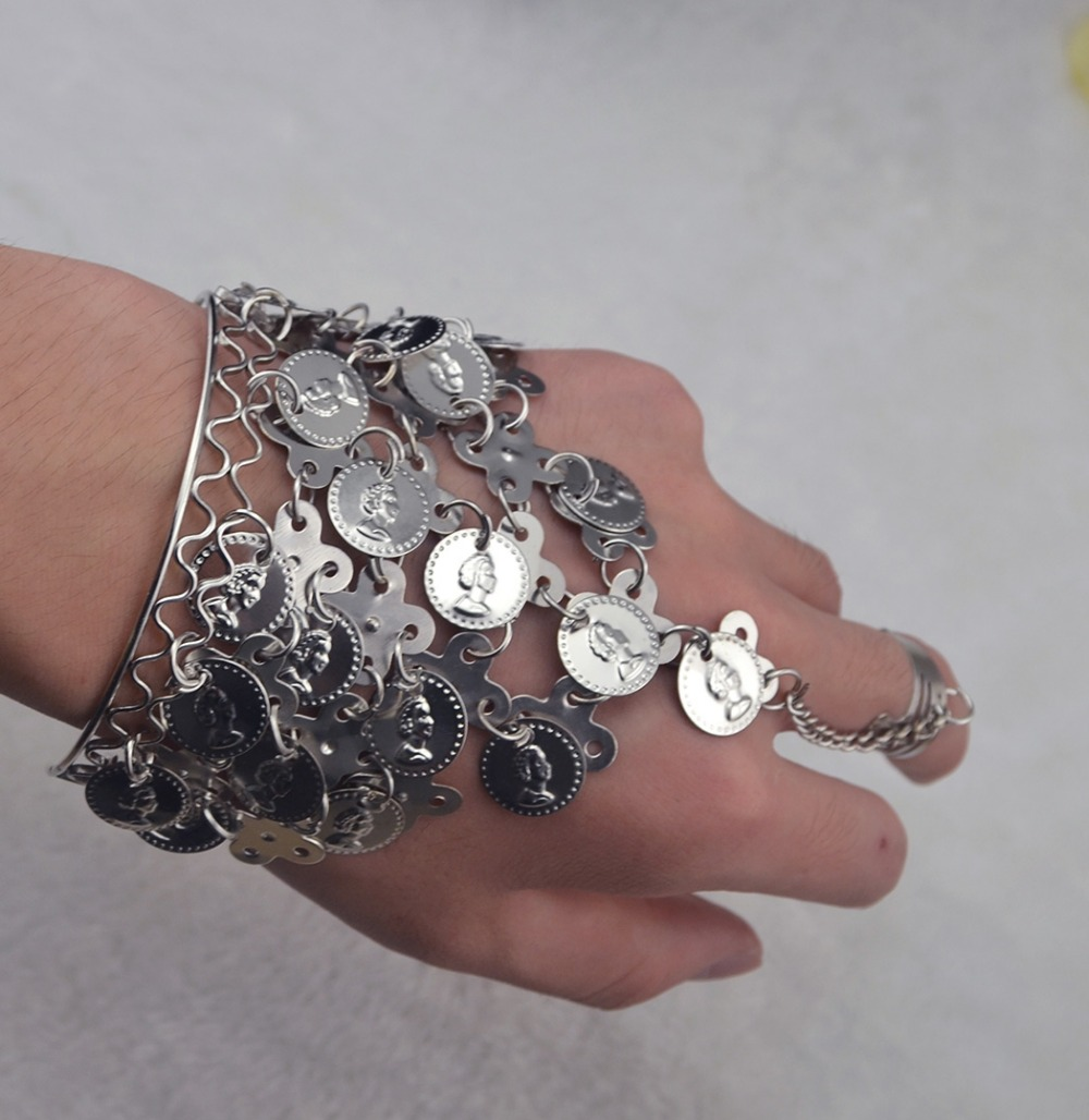 2-Colors-Dance-Gold-Silver-Coin-Charm-Tassel-Wrist-font-b-Bracelets-b-font-For-Women