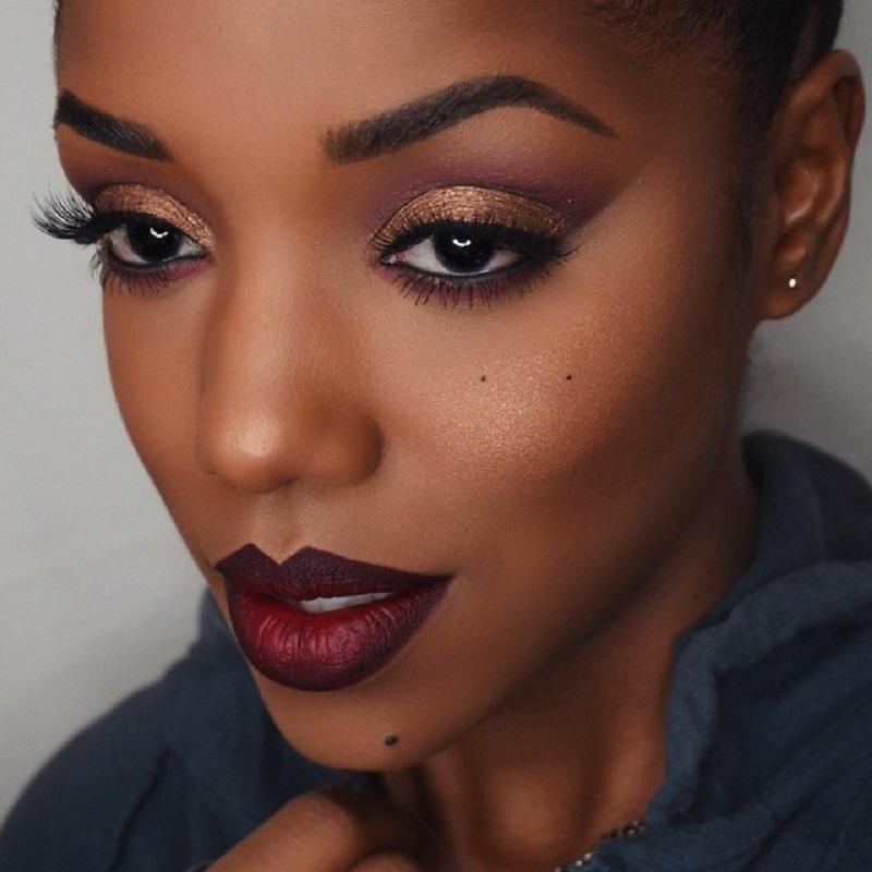 Ombre lips on dark skin