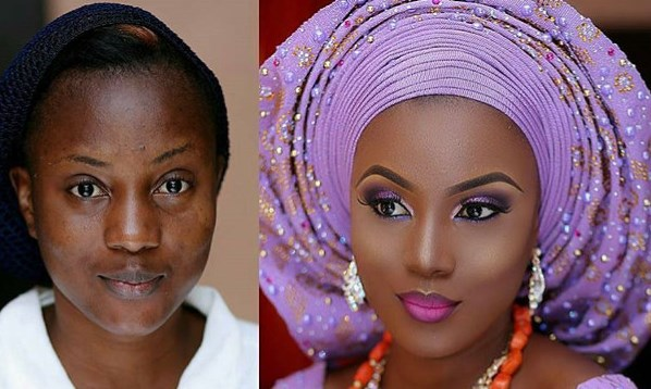 Nigerian makeup before and after