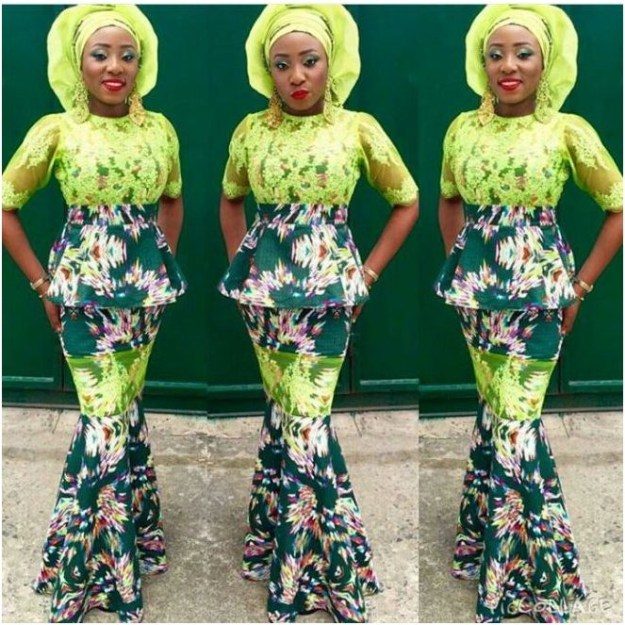 ankara mixed with lace styles