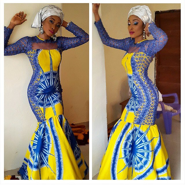 ankara and dry lace combination styles