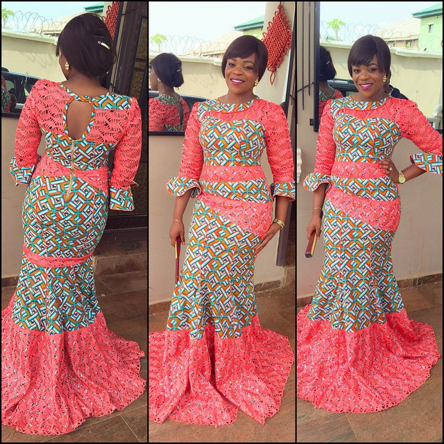 Ankara dress with lace elements