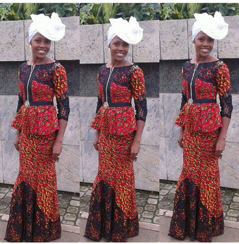 ankara mixed with lace dresses