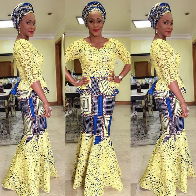 Lace dress with Ankara elements
