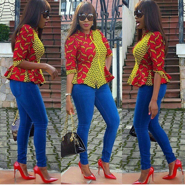Ankara blouse and jeans