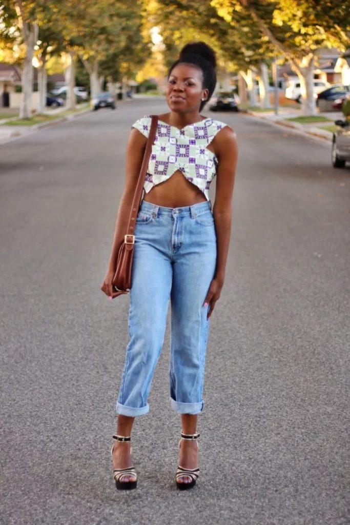latest ankara tops on jeans