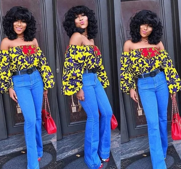 Ankara off-shoulder top with jeans