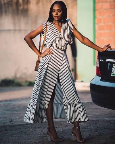 wrap dress street style