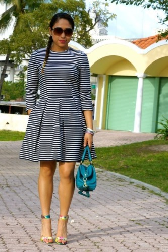 blue and white striped fit and flare dress