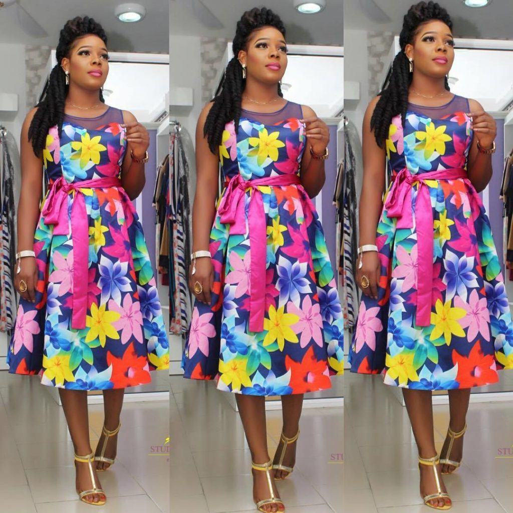 Floral dress styles in Nigeria
