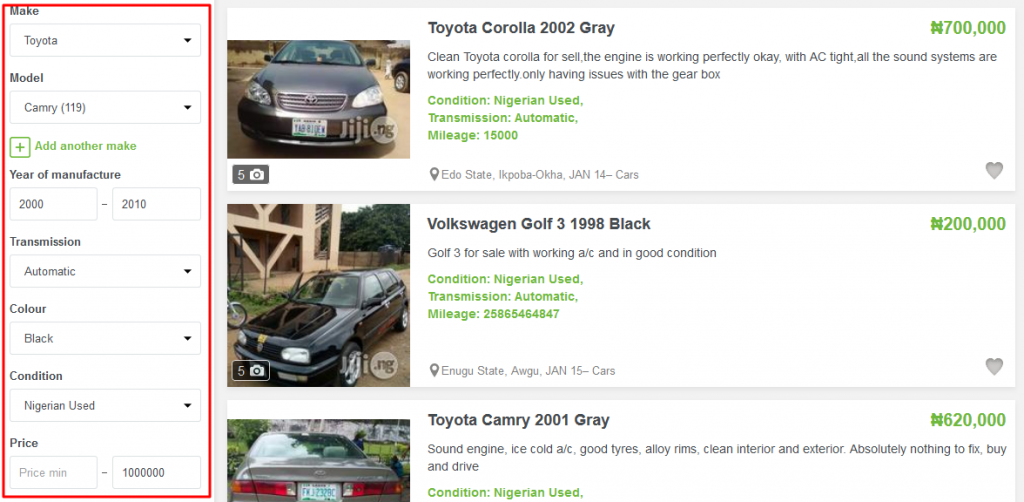How to find a car on Jiji